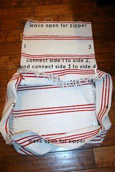 Retropolitan:  DIY floor pouf using IKEA floor mats.  Just like West Elm!