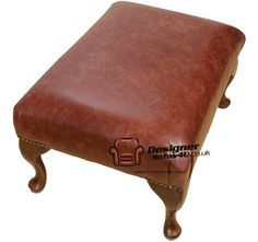 very old foot stools | ... 1930's Queen Anne Footstool Pouffe Old English Chestnut Leather