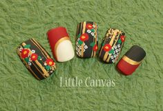 Japanese style nail art not my cup of tea, but someone somewhere will love them. Japanese Nail Design, Japanese Nail Art, Japanese Style, Asian Nail Art, Asian Nails, New Year's Nails, 3d Nails, Bling Nails, Red Nail Designs