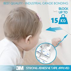 🔹EASIEST INSTALL WITH 3M STRONG ADHESIVE AND DISCRETE DESIGN - Installing any lock to your cabinets or drawers has never been easier. Manufactured with the strongest 3M adhesive, you just need to peel and stick the locks into position. From the outside, the locks are invisible without attracting your child's attention, and as no drilling is needed, your furniture will remain undamaged. 🔹If your child can't lift a 40-pound weight than it can't open the locks eighter! Child Safety, Easy Install, Locks, Drill, Adhesive, Cabinets, Drawers, Strong, Children