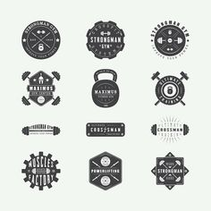 Set of vintage gym logos on Behance