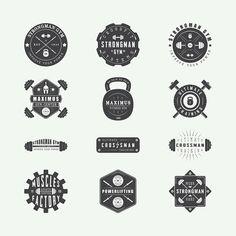 Set of vintage gym logos on Behance