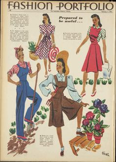 7 Feb 1942 - The Australian Women's Weekly pinafore suspenders overalls dress pants shorts culottes brown blue red white 40s era vintage fashion style