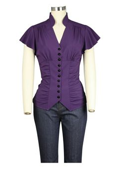 """Button down top with flutter sleeves, ruched sides and a tie back at the waist. Lightweight stretchy jersey material. Size L. $18 shipped. Bust: 38"""" to 40"""" Waist: 28"""" to 30"""" Hips: Up to 42"""""""
