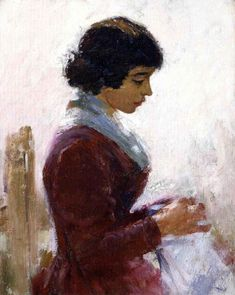 Girl in Red, Sewing Theodore Robinson - Date unknown