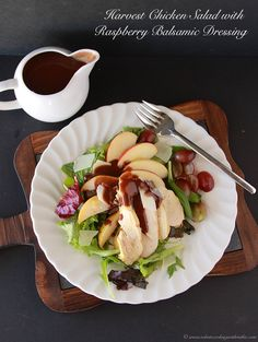Harvest Chicken Salad with Raspberry Balsamic Dressing by www.cookingwithruthie.com