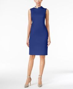 Calvin Klein Embellished Sheath Dress $89.98 Spice things up in this bold sheath with embellished mock neckline by Calvin Klein.