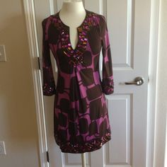 INC purple dress Xs p.  beautiful! Purple and brown dress with beautiful beating done by hand it will be perfect for a formal gathering of for a professional dinner at the office.  Love this dress INC International Concepts Dresses