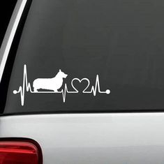 "Is your Corgi the love of your life? Show Your Love With This Exclusive Corgi HeartBeat Design Handmade in the USA decal for Car, Van, SUV and Truck! Decal measures 7"" wide x 4"" tall The sticker is a"