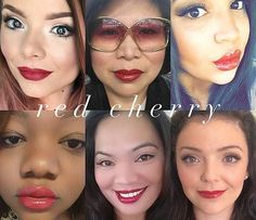 Red Cherry lips. ClassyKisses.com has a ton of selfies with different colors on different skin tones.  Find what will look good on you!