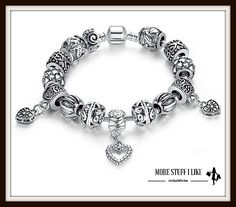 "Antique Silver Charm Bracelet & Bangle 925 Sterling Silver with Heart Pendant "" FREE SHIPPING """