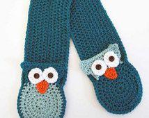 NEW -Owl Pocket Crochet Scarf Pattern - PDF