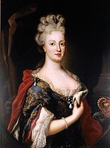 Maria Anne of Austria (1683 - 1754). Queen of Portugal from 1708 until her husband's death in 1750. She was married to Joao V and had six children.