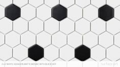 Mid Century ModernPorcelainNo Sealant Required A victorian accent for your upcoming bathroom remodel Hex Tile, Tiles, Surface Art, Concept Board, Kids Bath, Black Dots, Mid-century Modern, Victorian, Stone