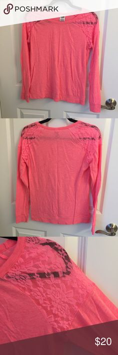Soft VS PINK top Long sleeve top from Victoria's Secret PINK. Super super soft, coral color! The shoulders are sheer lace. No trades. Also listing the same top in mint green. PINK Victoria's Secret Tops Tees - Long Sleeve