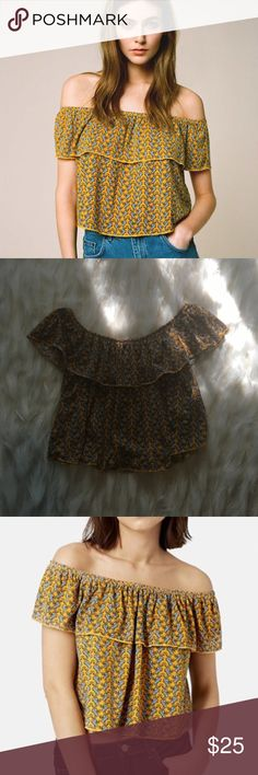 Topshop Crop Top Cute yellow paisley ruffle off the shoulder top! Excellent used condition. No modeling or trades. Topshop Tops Crop Tops