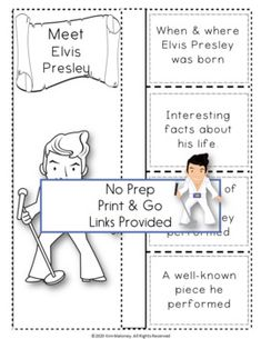 An excellent resource to accompany MUSIC LISTENING LESSONS ELVIS PRESLEY and HIS MUSIC Biography Research and Listening Activities. No prep, just print and go! ♫ ♫ #musiceducation #mtr