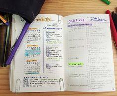Bullet journal 2017  1. Metas para o ano de 2017 (dividí-las em formatura, faculdade, inglês, fitness, finanças) 2. Coisas para se fazer no ano de 2017 (compras, pagar, livros pra ler, lugares para conhecer, coisas pra fazer) 3. Monitoramento diário de hábitos saudáveis 4. Planejamento semanal 5. Planejamento diário 6. Planejamento financeiro mensal