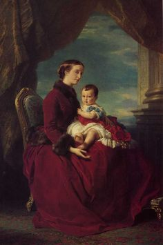 The Empress Eugenie Holding Louis Napolean the Prince Imperial on her Knees, Franz Xavier Winterhalter