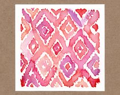 Instant Download Original Watercolor Painting • Berry Ikat Pattern on Etsy, $5.00