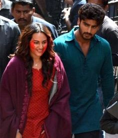 "According to Mid-Day, Sonakshi was visiting the sets of ""Kaun Banega Crorepati"" to promote her forthcoming movie ""Action Jackson"". Arjun surprised her while the actress was getting her make-up done. The alleged couple will be seen in ""Tevar"", which will release on January 9."