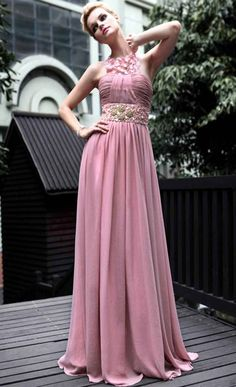 Pink Empire Halter Cocktail Dress [DF10275] - $211.00 @ Evening Dress Online Store