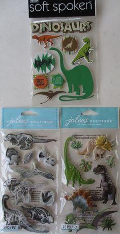 Scrapbooking Stickers Lot Jolee's Boutique DINOSAURS Bones Fossils T-Rex Bronto #JoleesBoutiqueSoftSpoken