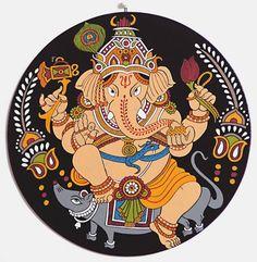 Lord Ganesha - (Wall Hanging) (Orissa Pata Painting on Hardboard)) Ganesha Painting, Ganesha Art, Madhubani Painting, Lord Ganesha, Indian Traditional Paintings, Indian Art Paintings, Madhubani Art, Indian Folk Art, Buddha Art