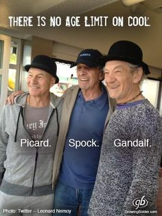 actors Patrick Stewart, Leonard Nimoy and Ian McCellan .There is no age limit on cool. Ian Mckellen, Science Fiction, Patrick Stewart, G Photos, Leonard Nimoy, Star Wars Humor, Spock, Aging Gracefully, First Photo