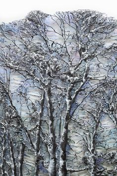 Lesley Richmond is a textile artist inspired by natural forms and textures. She works with textile processes to simulate organic surfaces. Nature Artists, Textile Texture, Thread Painting, Landscape Quilts, Winter Trees, Wet Felting, Textile Artists, Textiles, Tree Art