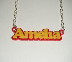 Name Necklace - Lasercut Acrylic double colour Pendant