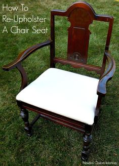 Learn how to re-upholster a chair sear with this step-by- step tutorial.  Includes video tutorial, which makes this a popular pin! #newtoncustominteriors #upholsterytutorial #upholstery #chairseatrecover