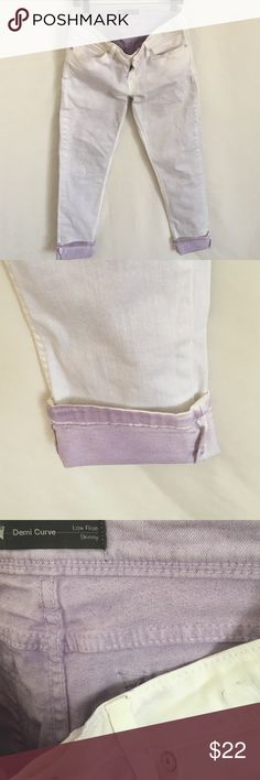 Levis's demi curve with purple cuffs These are so incredibly cute!!  I bought on poshmark and they don't fit me.  You can see on pics they have a tiny bit of purple throughout white. By design??  And the purple, ever so lightly, shows through💕I wish wish wish these fit me. THEY ARE AMAZING! Levi's Jeans Skinny