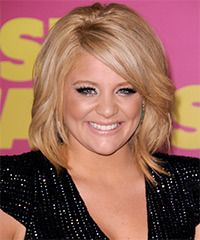 Lauren Alaina Hairstyle: Formal Medium Straight Hairstyle. These medium golden locks are blow-waved to add height through the crown area making it a great hairdo to compliment a round face. The long bangs are swept over to the side to soften the face and completes the over-all style magnificently. This 1 seems to take a lot of techniques I'm not used to but I like the crown and length