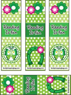 Bookmarks St. Patricks Day printable, St. Patrick's, Bookmarks - Free Printable Ideas from Family Shoppingbag.com