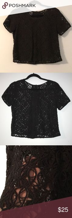Black short sleeve top One of my all time faves! Black short sleeve top from Urban Outfitters (brand is Lucca Couture). It is a sheer, cropped style with mesh/lacey design throughout. Even more amazing in person! Cute button details running up the back. Lucca Couture Tops Blouses