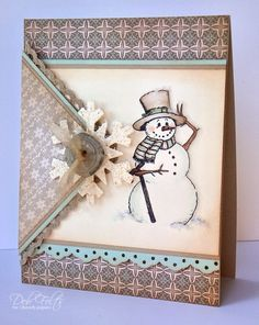 Envelope Style Snowman Card with a snowflake and button. By debdeb - Cards and Paper Crafts at Splitcoaststampers. Homemade Christmas Cards, Christmas Cards To Make, Christmas Paper, Xmas Cards, Christmas Greetings, Homemade Cards, Handmade Christmas, Holiday Cards, Christmas Snowman