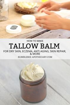 to Make Tallow Balm - This tallow balm recipe is amazing! My skin drinks it right in. It moisturizes and soothes dry skin -How to Make Tallow Balm - This tallow balm recipe is amazing! My skin drinks it right in. It moisturizes and soothes dry skin - Mask For Dry Skin, Moisturizer For Dry Skin, Homemade Facial Moisturizer, Homemade Face Lotion, Homemade Sunscreen, Homemade Body Butter, Homemade Fudge, Whipped Body Butter, Homemade Skin Care