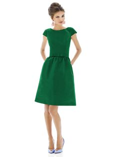 This Alfred Sung short bridesmaid dress has cap sleeves andbateau neckline. Matching belt with flat bow detail sits at natural wait. The shirred A-line skirt of style D570 has pockets at side seams. Hidden zipper and