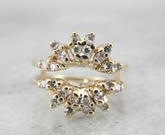 1940's 14k yellow gold and diamond starburst ring guard aka my wedding band :) - Market Square Jewelers on Etsy