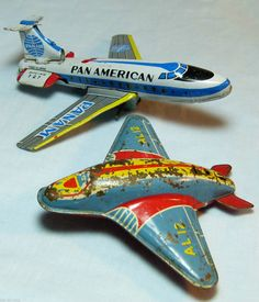 PAIR TIN AIRCRAFT PAN AMERICAN & AL12 SPACE FRICTION JET PLANES; JAPAN & GB | eBay