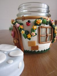 Cover a jar Polymer Clay -- Hey, sister dear - this looks right up your alley for the grandkids!! - M