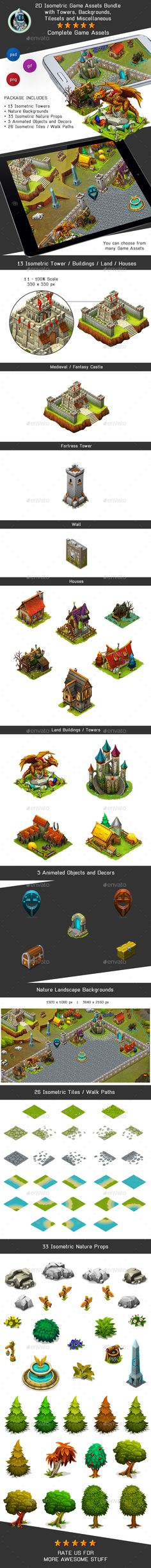 Isometric Game Kit 1 of 3 - Towers, Backgrounds, Tilesets & more - Game Kits Game Assets