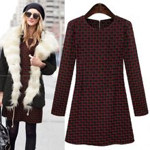 Free Shipping vestidos 2015 plus size fashion long sleeve dresses thick warm cotton blends plaid casual women winter dress C457(China (Mainland))