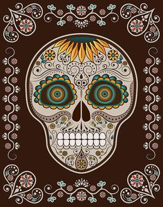 Day Of The Dead Art - Sugar Skull Reaper psychedelic hippie  Art Poster Print Postcard ☮~ღ~*~*✿⊱  レ o √ 乇 !! ~