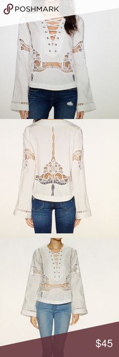 Free people Bittersweet Lace Up Blouse Beautiful white sold out Bittersweet blouse. Beautiful lace inserts. Such a beauty! NWT Free People Tops