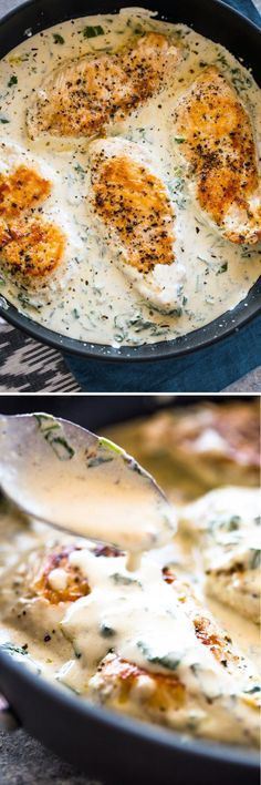 Creamy Parmesan Garlic Chicken – This was a really phenomenal dish. I served it … Creamy Parmesan Garlic Chicken – This was a really phenomenal dish. I served it … , I Love Food, Good Food, Yummy Food, Tasty, Low Carb Meal, Garlic Parmesan Chicken, Parmesan Sauce, Balsamic Chicken, Def Not