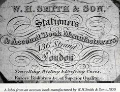 An old WHSmith account book label from 1850