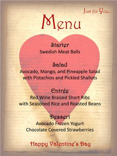 A menu Template for your Valentine's Day