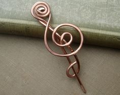 Treble Clef Copper Shawl Pin ,Scarf Pin, Sweater Brooch- for the Music Lover. $20.00, via Etsy.